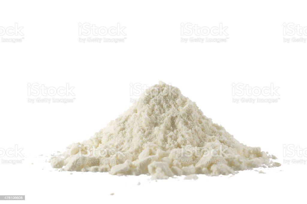 Haufen von gemahlenen Bio-Milch, isoliert auf weiss – Foto