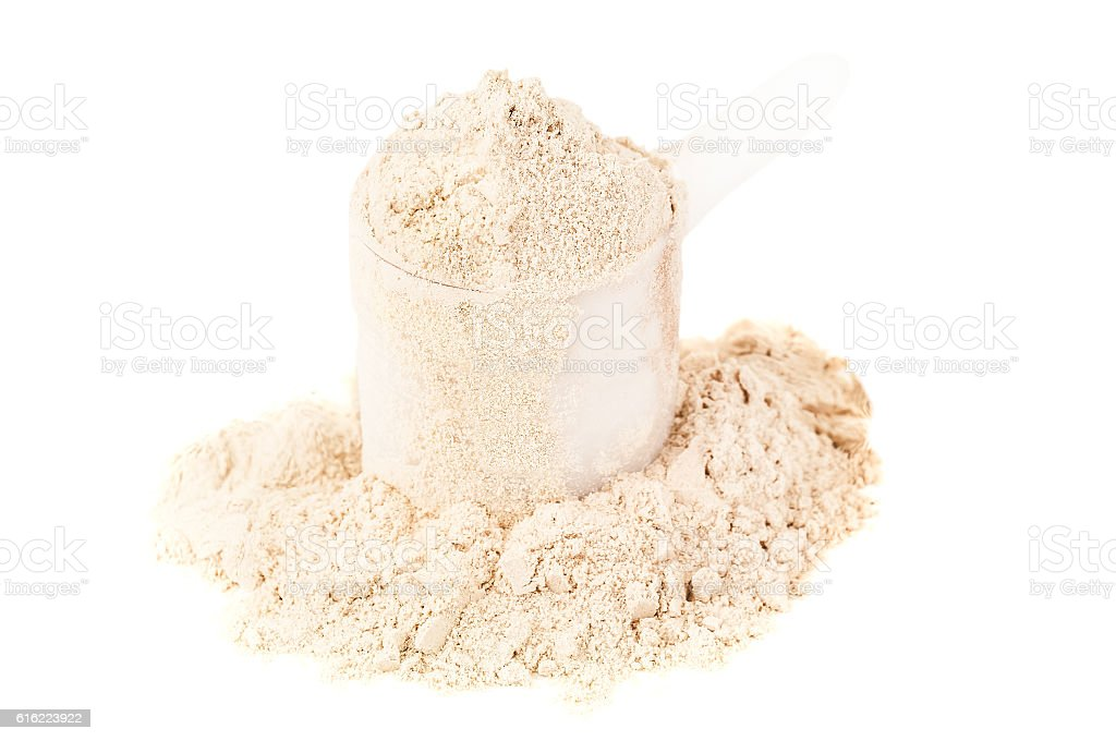 heap of protein powder stock photo