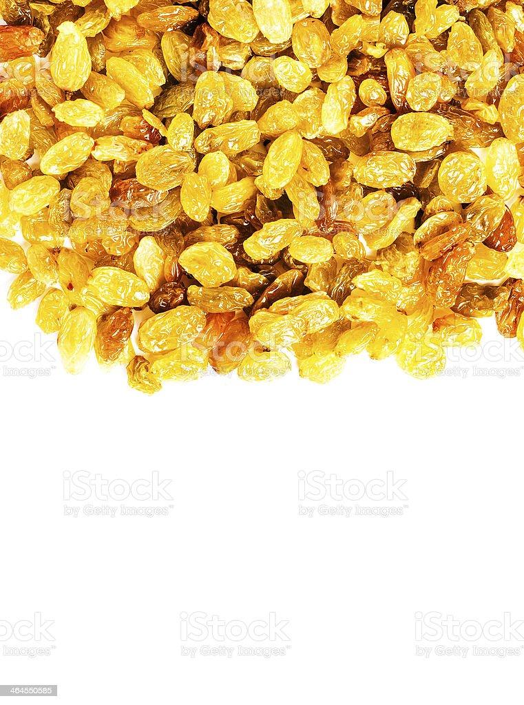 Heap of raisin isolated on white background, studio stock photo