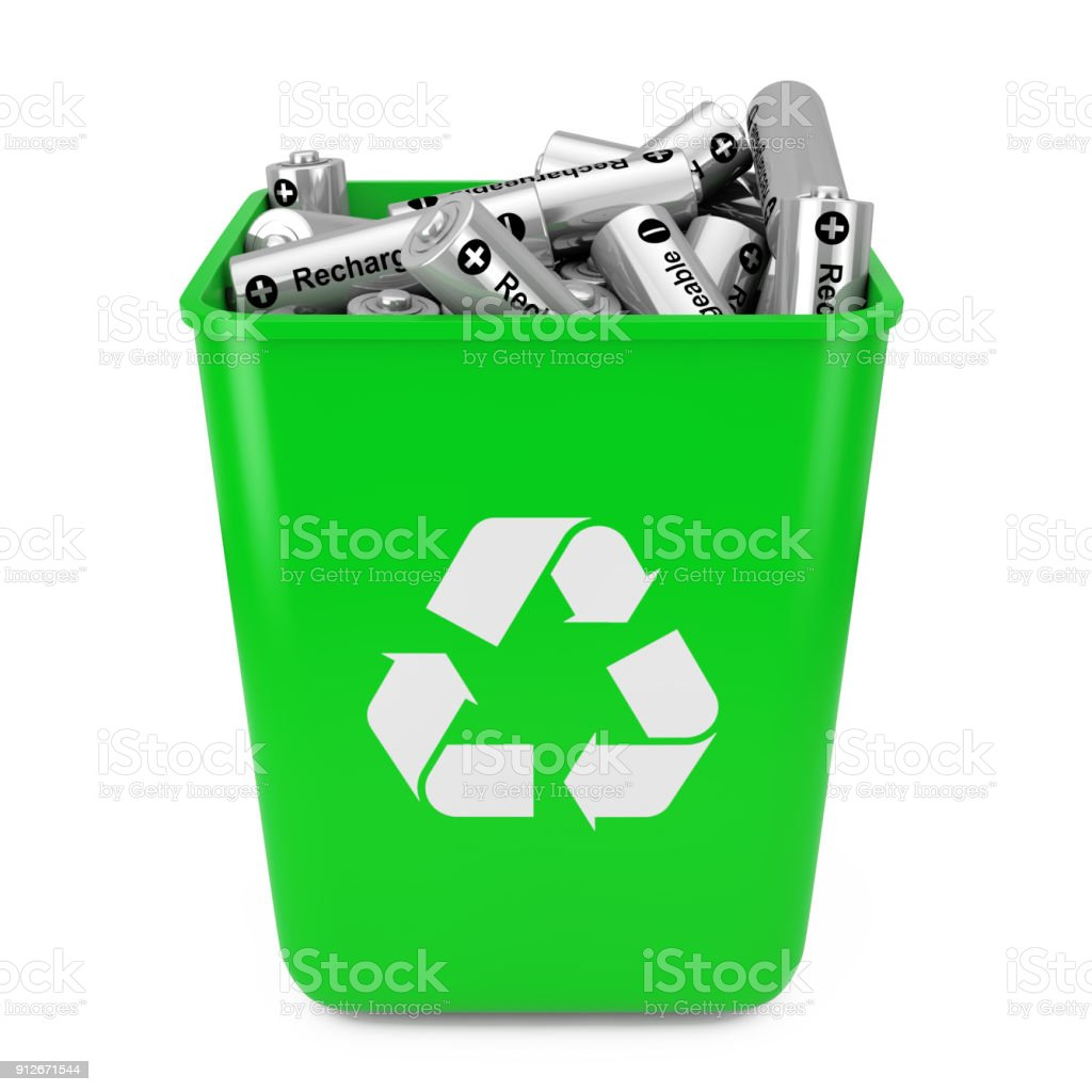 Heap of Rechargeable Batteries in Green Bucket with Recycle Sign. 3d Rendering stock photo