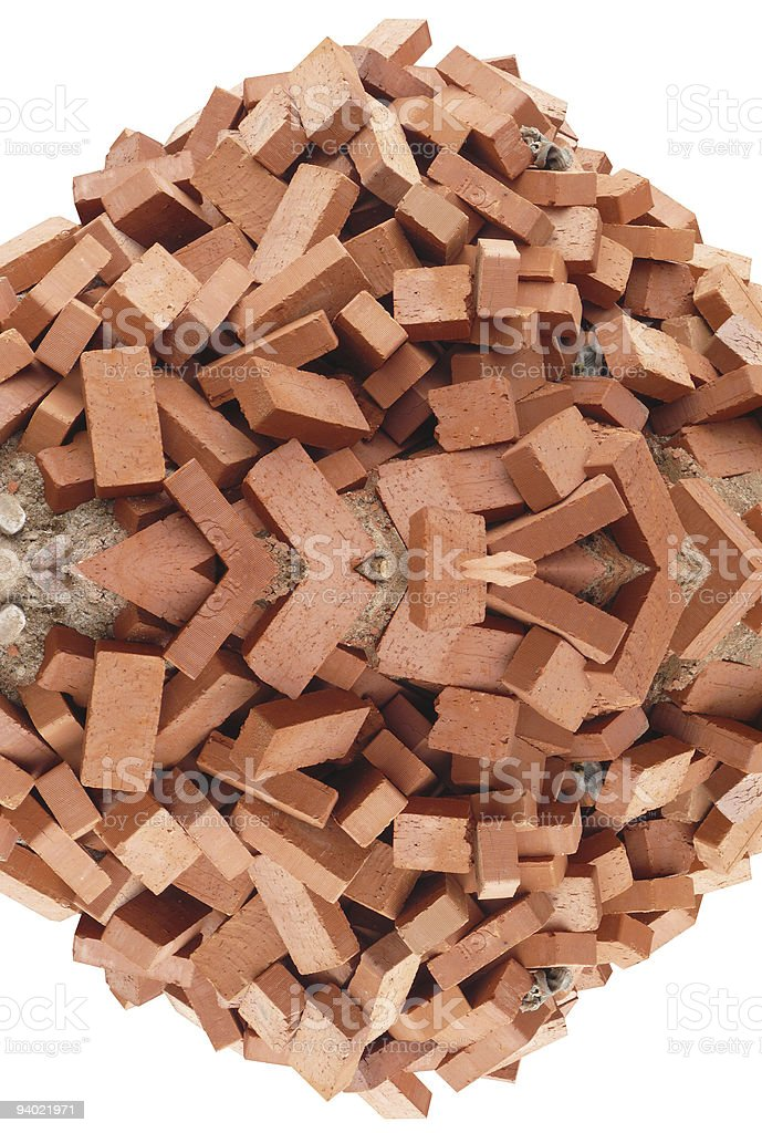 heap of red brick  isolated royalty-free stock photo