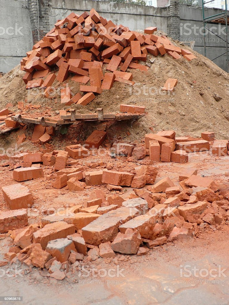 heap of red brick royalty-free stock photo