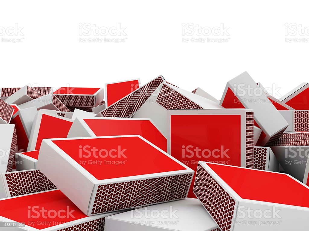Heap of Red Matchbox with place for Your text stock photo