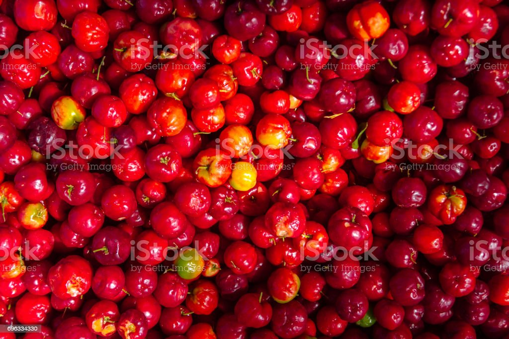 Heap of red pitangas seen from above stock photo