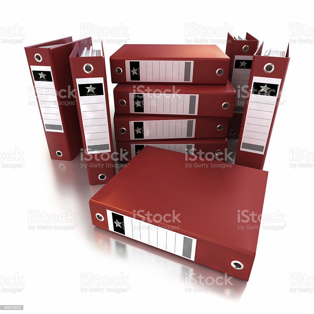 Heap of red ring binders royalty-free stock photo