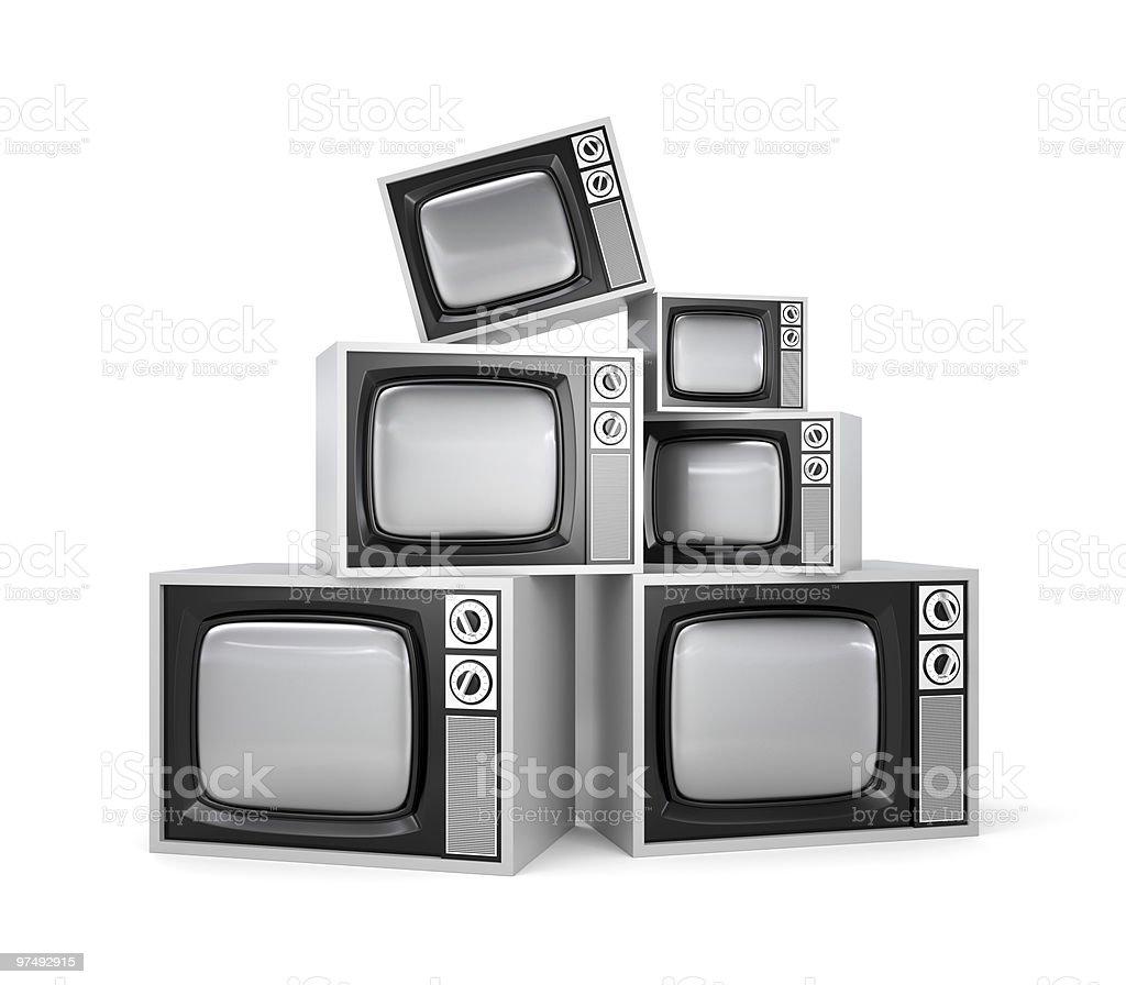 Heap of Retro TV royalty-free stock photo