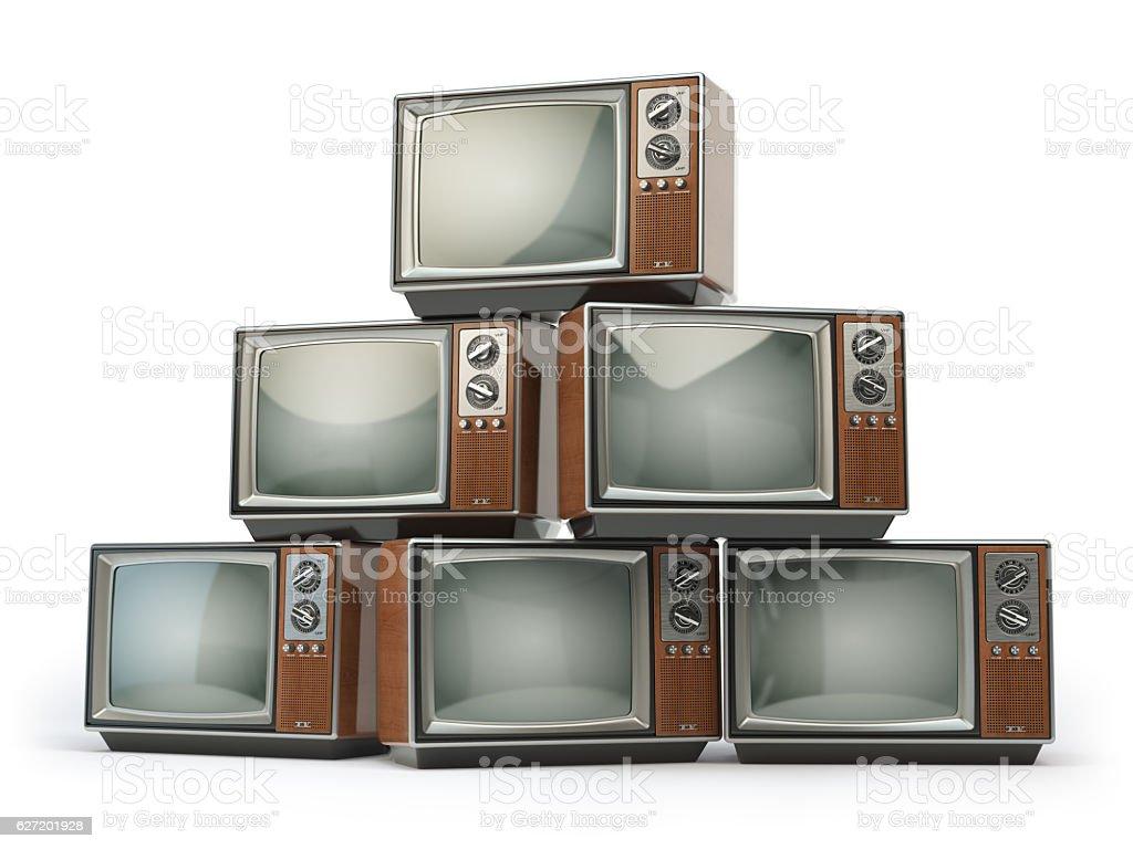 Heap of retro TV sets isolated on white background. Communicatio stock photo