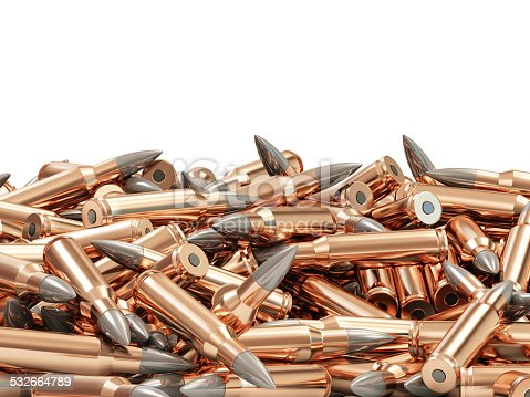 1043434568 istock photo Heap of Rifle Bullet isolated on white background 532664789