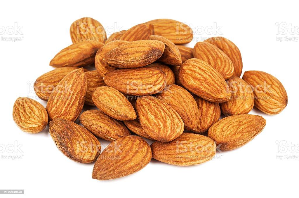 heap of ripe almonds stock photo