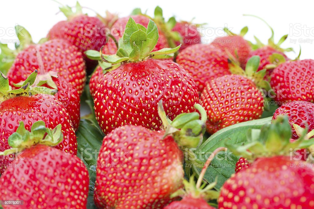 heap of ripe strawberries selective focus royalty-free stock photo