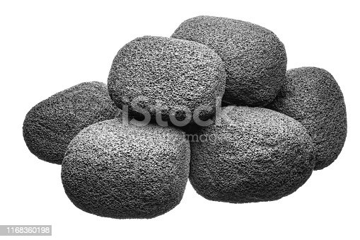Rounded aerated thermally insulated blocks in an unruly heap, on a pure white background. Used for construction in buildings, they are also useful for cleaning the drum of a cement mixer after mixing concrete or mortar.