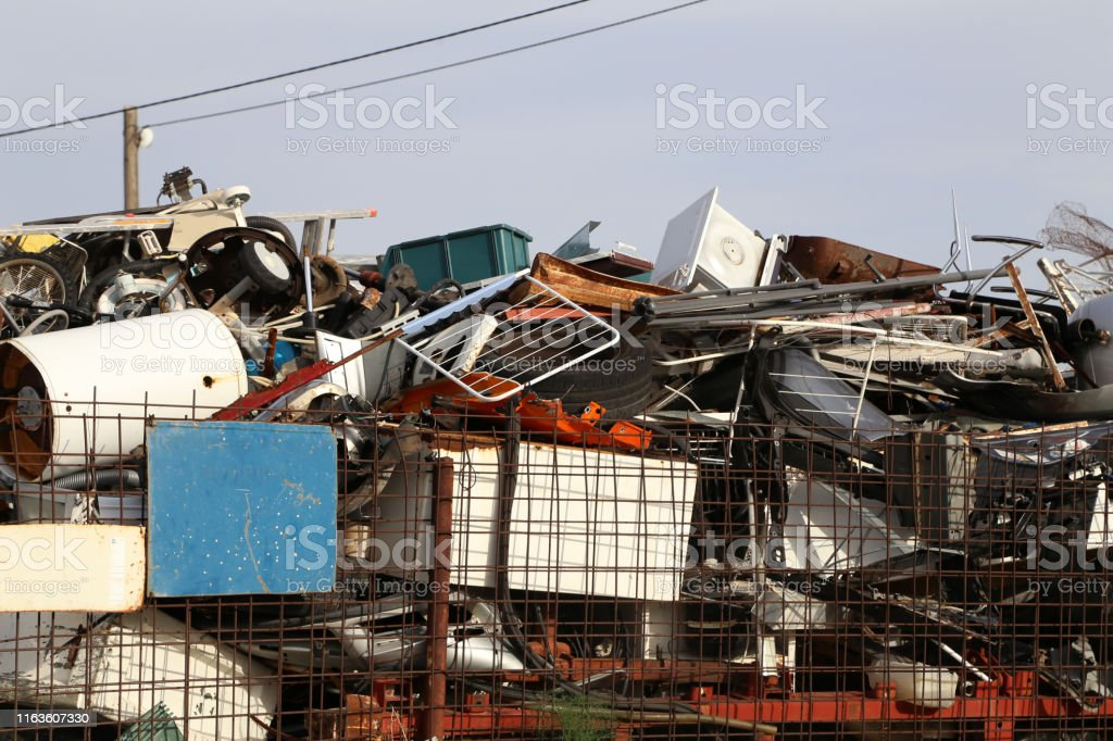Scrap metal pile junk yard waste for recycling environment
