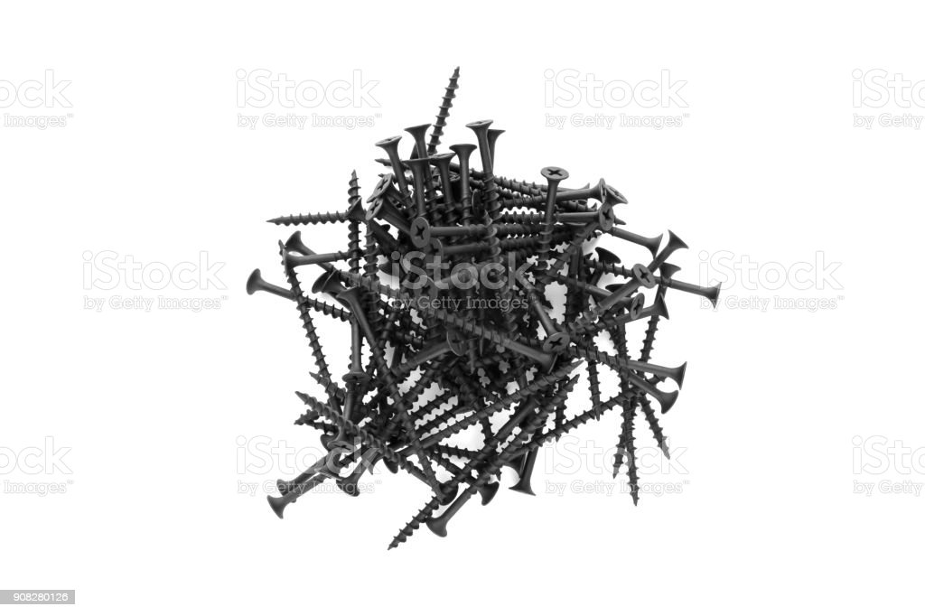 Heap of screws close-up. stock photo