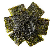 Heap of seaweed chips on a white background, isolated. The form of the top.