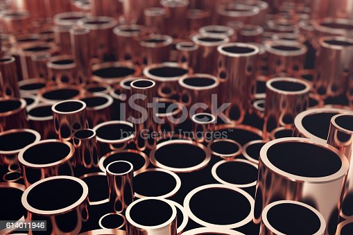 Heap of shiny copper pipes with selective focus effect. 3d rendering.
