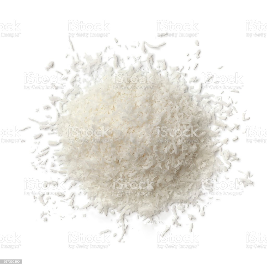 Heap of shredded coconut meat stock photo
