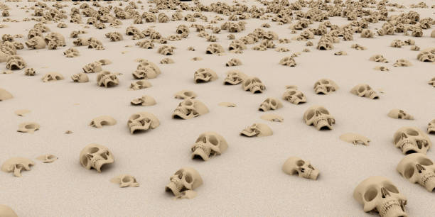 heap of skulls on sand. Apocalypse and hell concept. 3d rendering. heap of skulls on sand. Apocalypse and hell concept. 3d rendering. genocide stock pictures, royalty-free photos & images