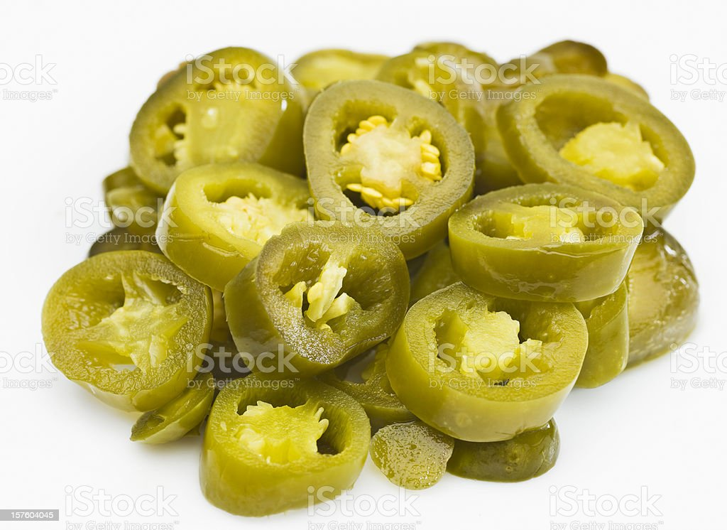 Heap of Sliced Jalapeno Peppers stock photo