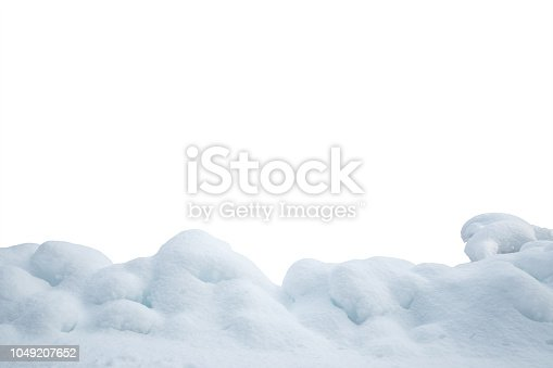 Heap of snow isolated on white background.
