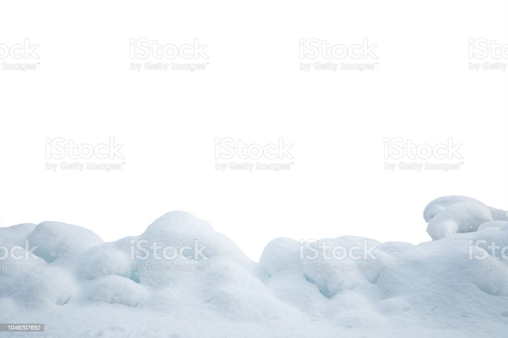 Heap Of Snow On White Background stock photo