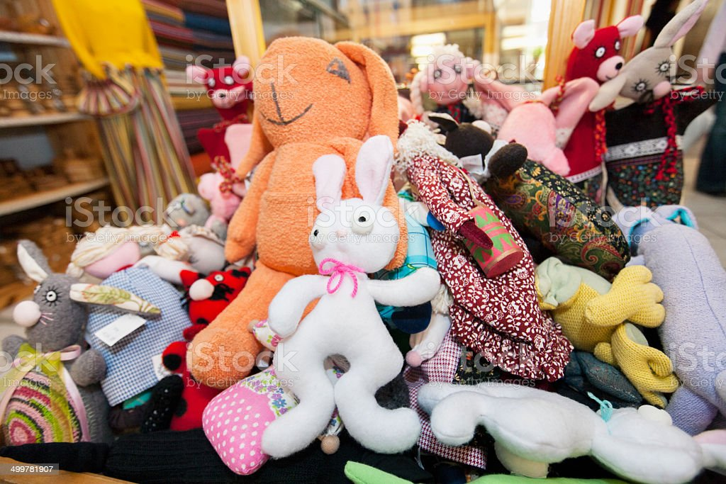 Heap of stuffed toys in gift store stock photo