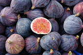 Heap of tasty organic figs at local farmers market