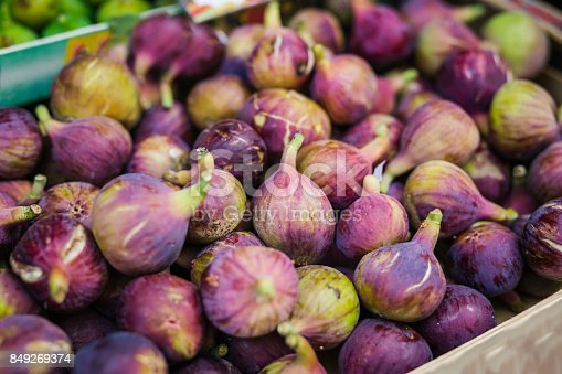 Heap of tasty organic figs at local farmers market