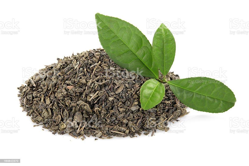 Heap of tea leaves stock photo