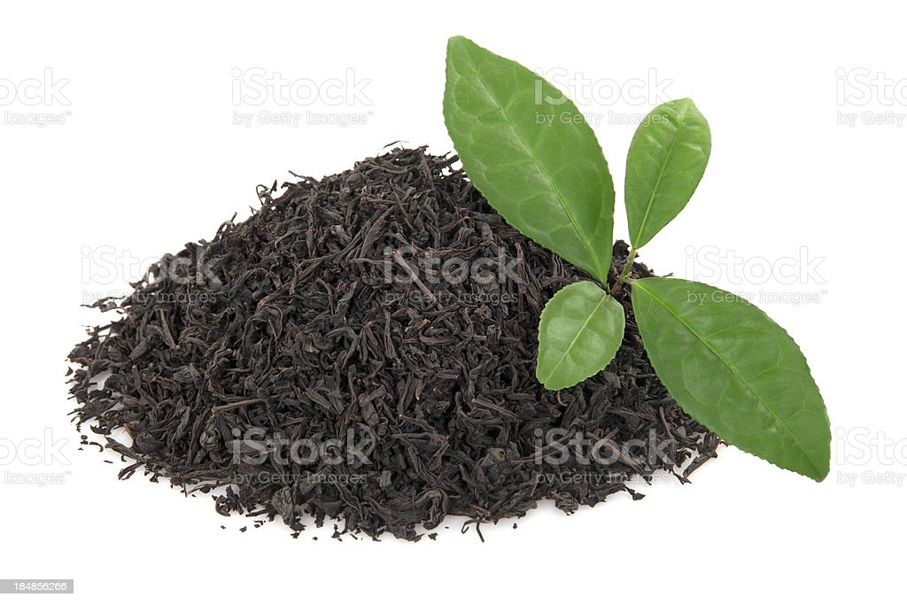 Heap of tea leaves stock photo