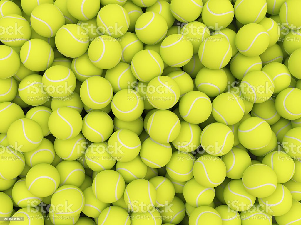 Heap of tennis balls isolated on white background stock photo