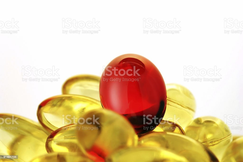 Heap of the vitamin capsules. royalty-free stock photo