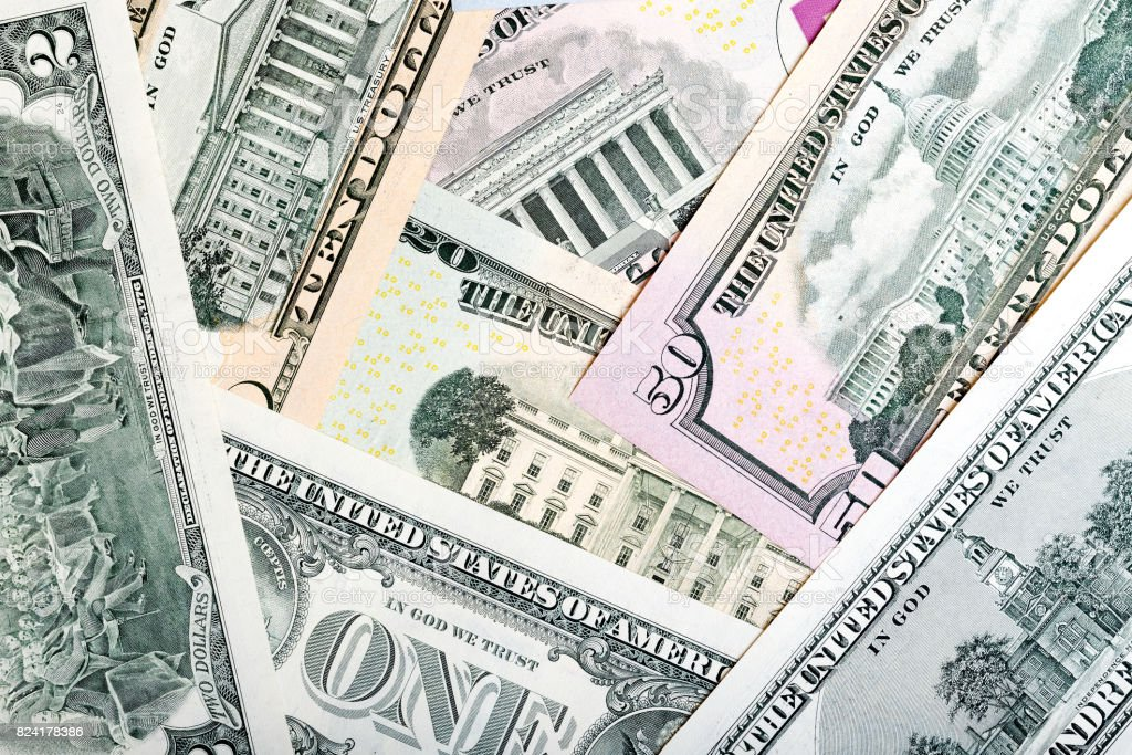 Heap of U.S. dollars, money background stock photo