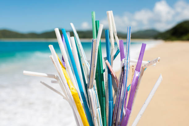 Heap of used plastic straws on background of clean tropical beach and ocean waves Heap of used plastic straws on background of clean beach and ocean waves. Plastic ocean pollution, environmental crisis. Say no plastic. Single-use plastic waste drinking straw stock pictures, royalty-free photos & images