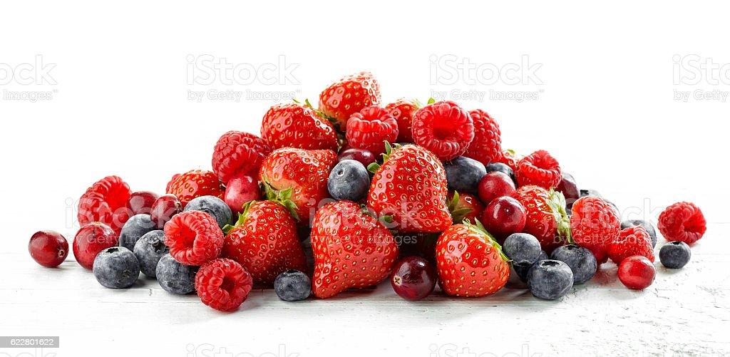 heap of various fresh berries stock photo