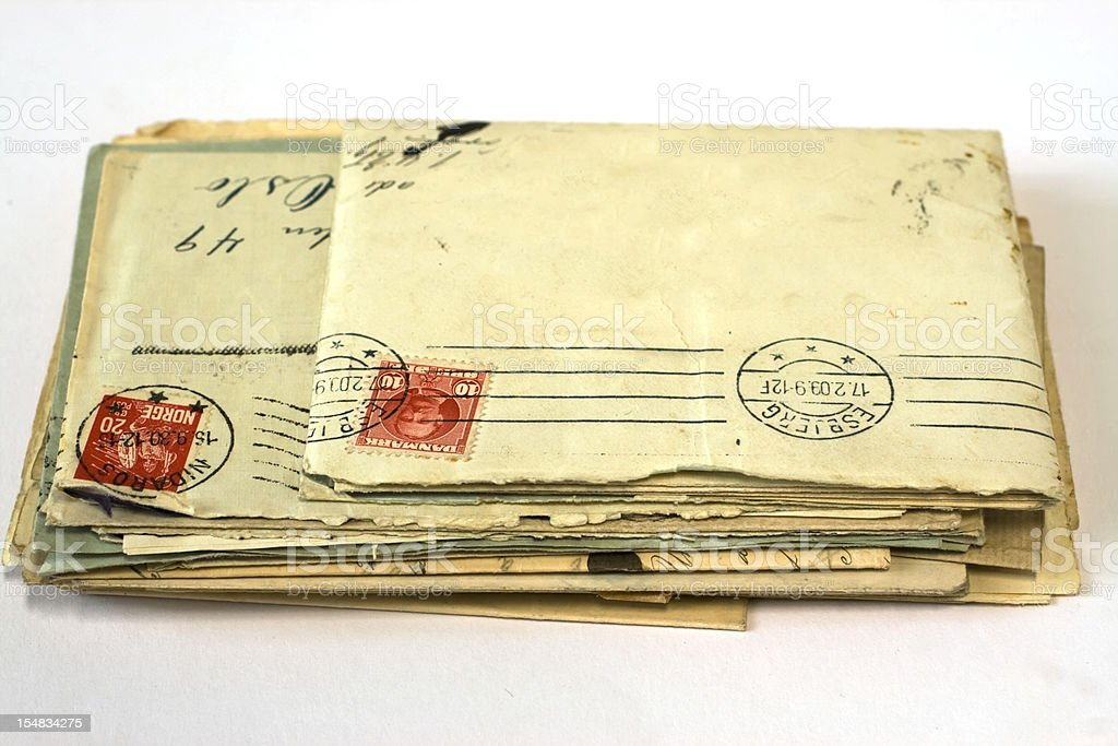 Heap of vintage  worn letters with stamps. royalty-free stock photo