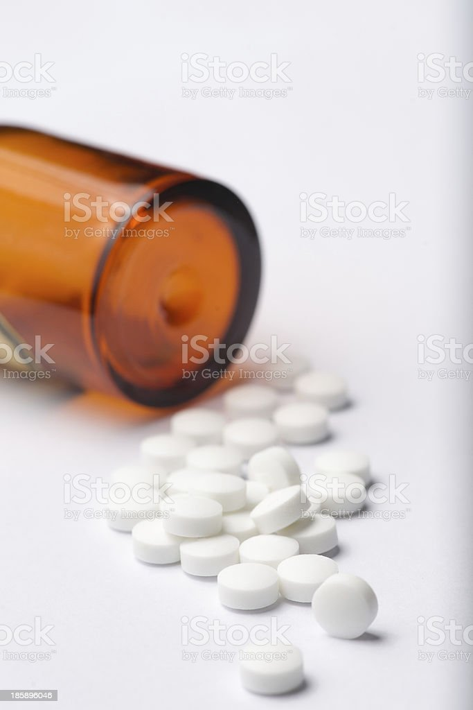 Heap of white pills. royalty-free stock photo