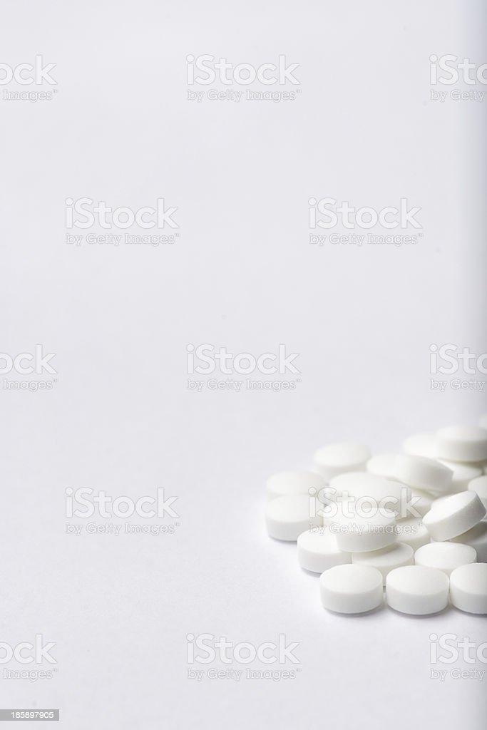Heap of white pills. royalty-free stock photo