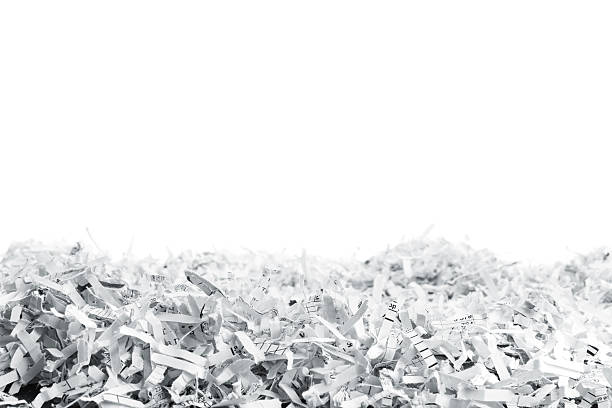 heap of white shredded papers - shredded paper stock photos and pictures