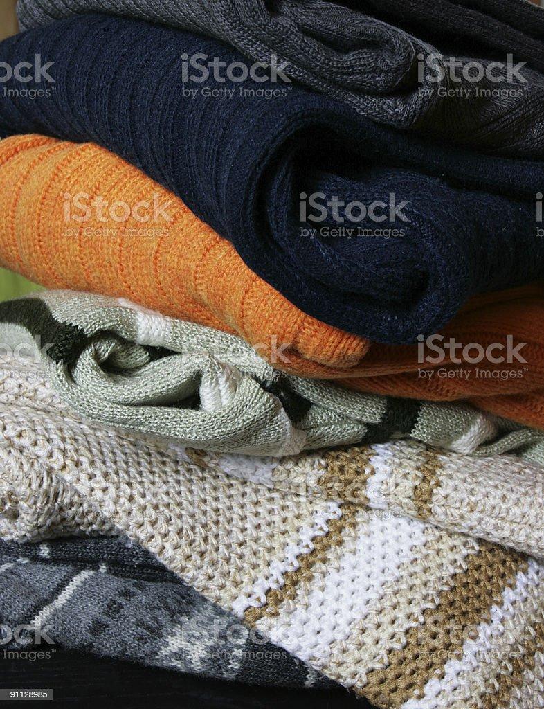 Heap of winter woolen wear royalty-free stock photo