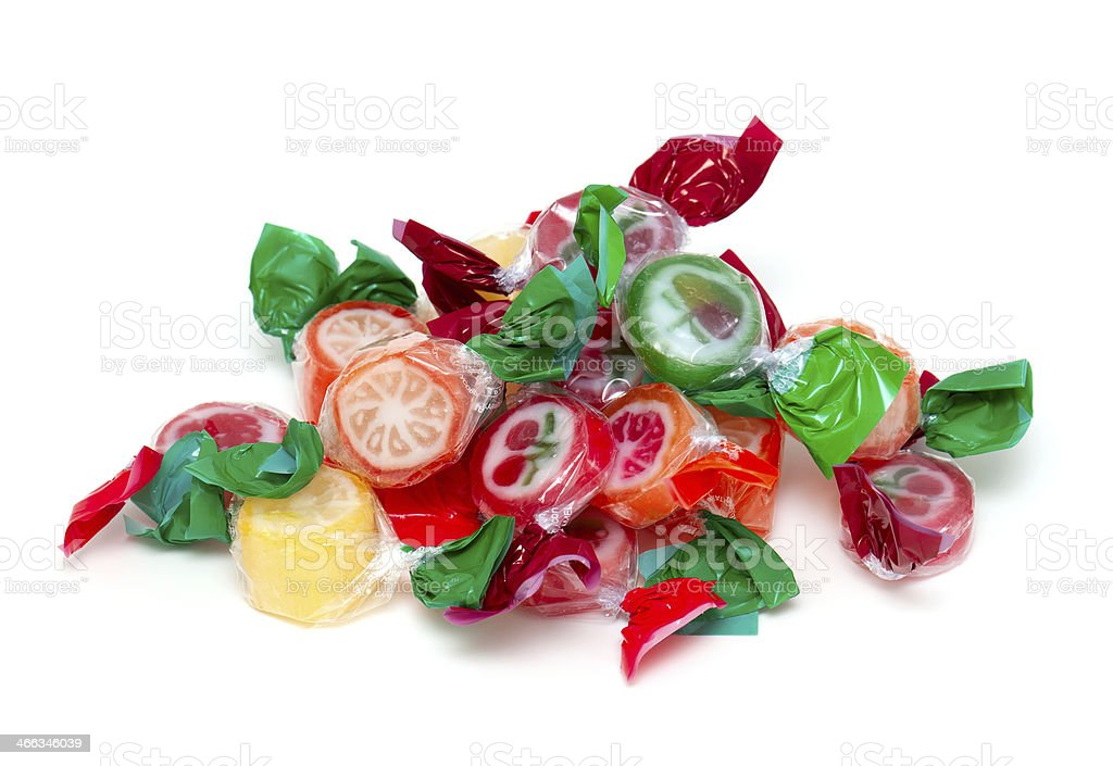 heap of wrapped fruit candies stock photo