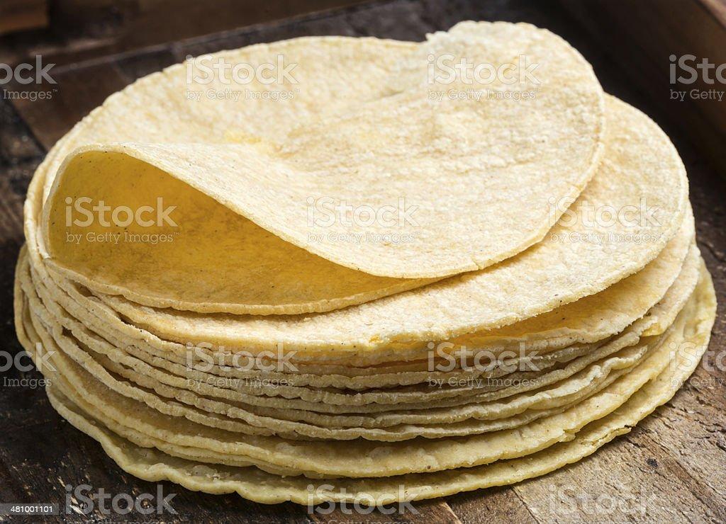 A heap of yellow corn tortillas stock photo