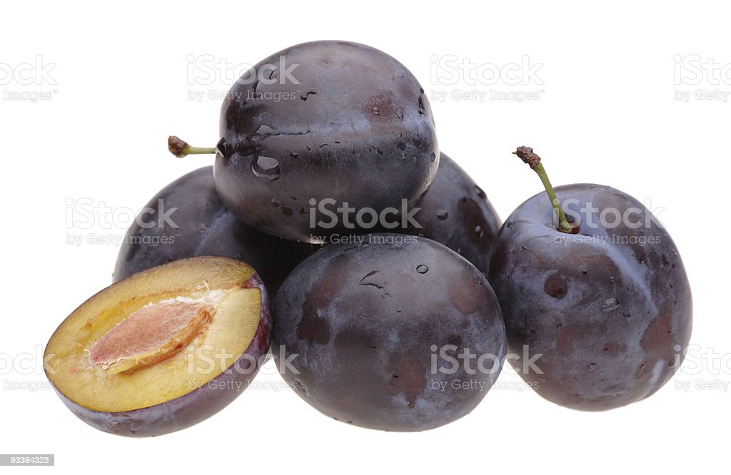 heap plums on white royalty-free stock photo