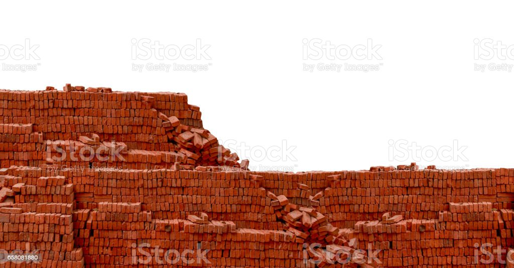 Heap red brick at construction site royalty-free stock photo