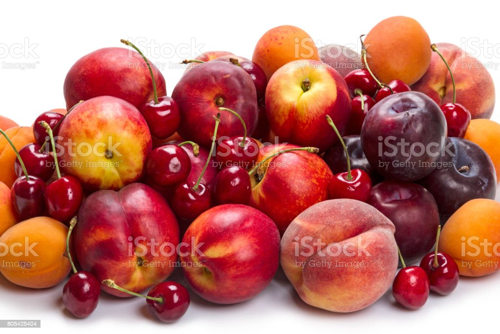 Heap ripe fruit on white stock photo