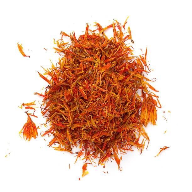 heap saffron isolated on white background - saffron on white bildbanksfoton och bilder
