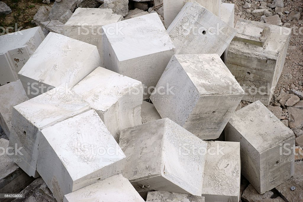 Heaped concrete blocks stock photo