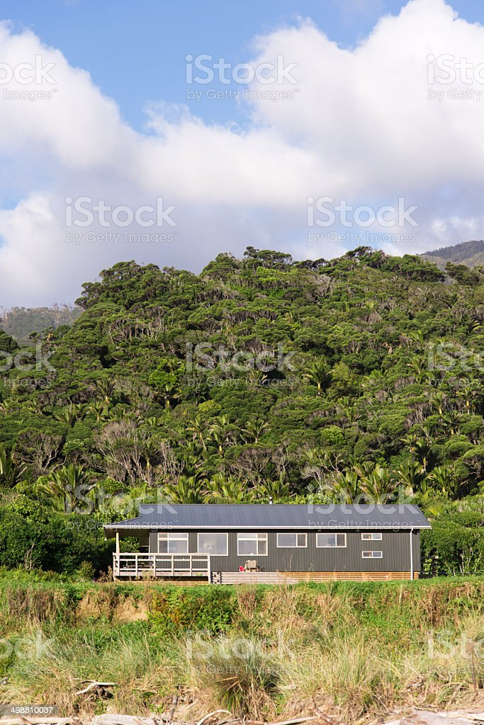 Heaphy Hut, on track of the same name, New Zealand stock photo