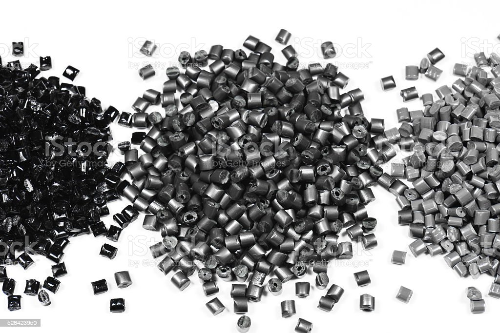 3 heaps of gray polymer stock photo
