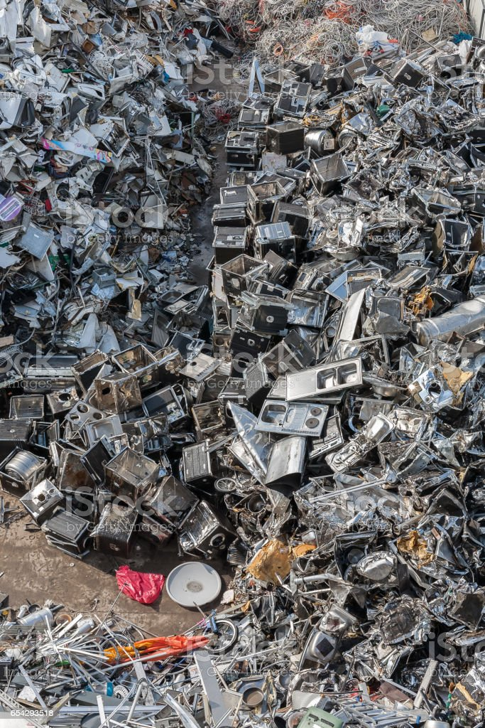 Heaps of Sorted Material in a Recycling Facility stock photo