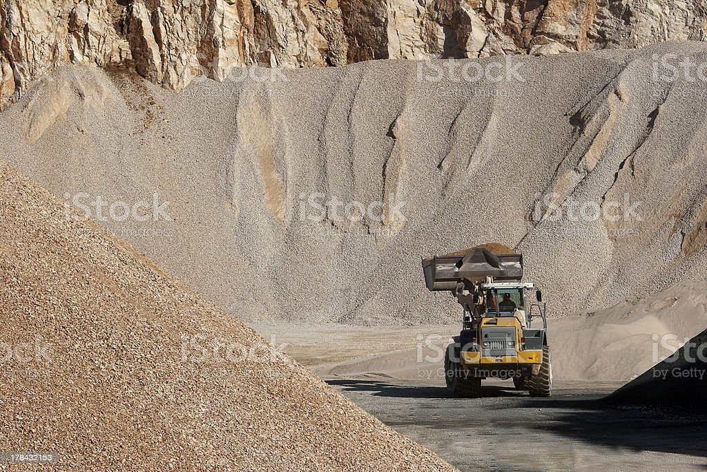 Heaps of stone aggregate for road construction stock photo